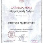 Dyplom ukończenia kursu z Podstaw Akupunktury.