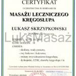 Certyfikat ukończenia kursu Masażu Leczniczego Kręgosłupa.