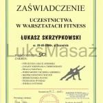Certyfikat uczestnictwa w Warsztatach Fitness.