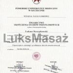 Dyplom ukończenia studiów podyplomowych - Fizjoterapia w Onkologii i Profilaktyce Chorób Nowotworowych.