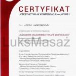 Certyfikat uczestnictwa w konferencji dotyczącej Fzjoterapii w Onkologii.
