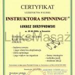 Certyfikat ukończenia kursu instruktora Spinningu.