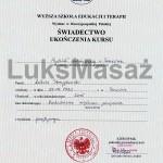 Dyplom ukończenia kursu z zakresu Rozluźniania Mięśniowo-Powięziowego.