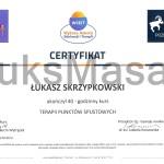 Certyfikat ukończenia kursu Terapii Punktów Spustowych.
