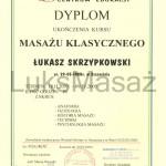 Dyplom ukończenia kursu Masażu Klasycznego (Szwedzkiego).