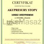 Certyfikat ukończenia kursu Akupresury Stopy.