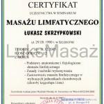 Certyfikat ukończenia kursu Masażu Limfatycznego.