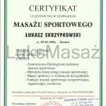 Certyfikat ukończenia kursu Masażu Sportowego.