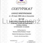 Certyfikat ukończenia kursu Masażu Gorącymi i Zimnymi Kamieniami, Stemplami Ziołowymi i Bańką Chińską.