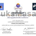 Certyfikat uczestnictwa w wykładzie na temat Rehabilitacji Oddechowej.